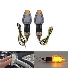 1 pair 14LED Mini Motorcycle Motorbike 2-Wire Turn Signal Indicators Blinker Amber Light 12V Universal for Honda for kawasaki