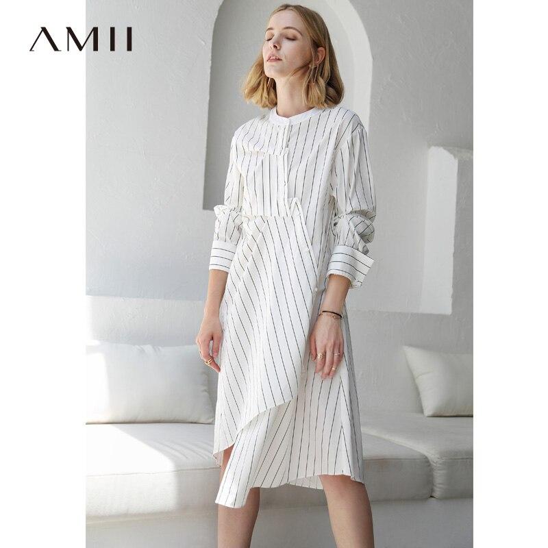Amii Women Minimalist 2018 Autumn Dress Asymmetric Chic Original Design Striped Loose Female Dresses