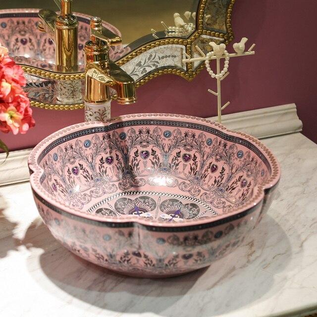 China Artistic Handmade Ceramic Wash Basin Round Counter Top Countertop  Wash Basin Bathroom Sinks White Porcelain