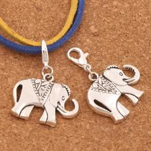 Dots Saddle Elephant Charms Heart Floating Lobster Clasps Charm Beads MIC 25x35 mm 17PCS Antique Silver Bead C1396