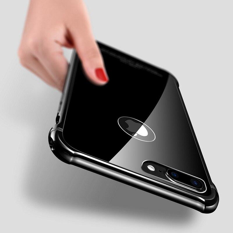 Luxury Antiurto Cassa Dell'armatura Per il iphone X 8 7 6 6 s Plus casi Dura Ultra Sottile Metal Frame + Clear 9 H Vetro Temperato Posteriore copertura