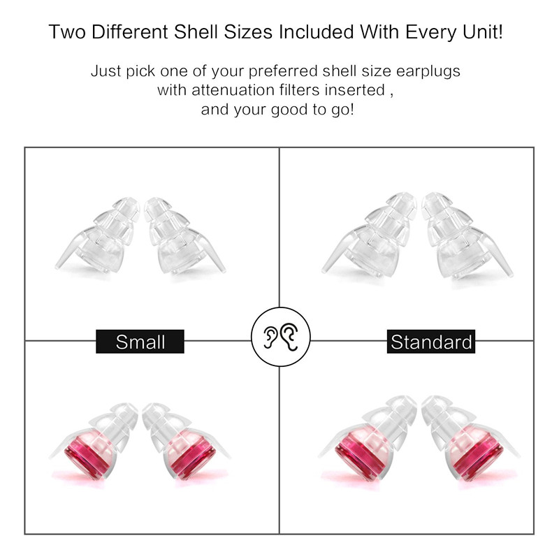 High Fidelity Motorcycle Earplug Noise Reduction Filter Silicone Ear Plug Hearing Protection for Concert Travel Drummer Musician