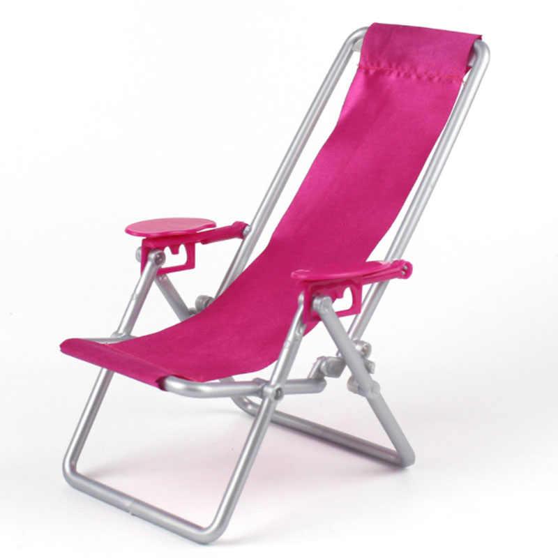 Novos Acessórios Príncipes Boneca de Plástico Cadeira de Praia Dobrável casa de Sonho Sofá Poltrona Móveis Para Boneca Barbie