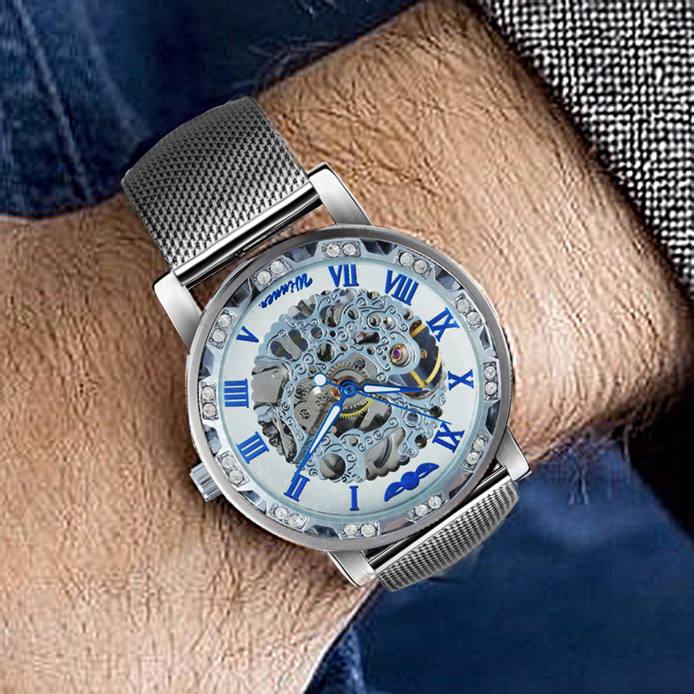 HTB1X3IUaXY7gK0jSZKzq6yikpXaA WINNER Fashion Business Mechanical Mens Watches Top Brand Luxury Skeleton Dial Crystal Iced Out Wristwatch Hot Sale Clock 2019