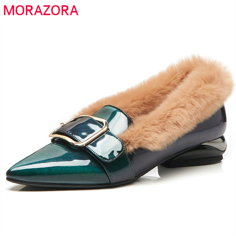 MORAZORA 2019 top quality patent leather pumps women pointed toe autumn winter shoes buckle square heels fashion shoes woman MORAZORA 2019 top quality patent leather pumps women pointed toe autumn winter shoes buckle square heels fashion shoes woman