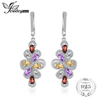 JewelryPalace 3.6ct Natrual Amethyst Garnet Citrine Green Amethyst Trendy Earrings 925 Sterling Silver Women Party Fine Jewelry