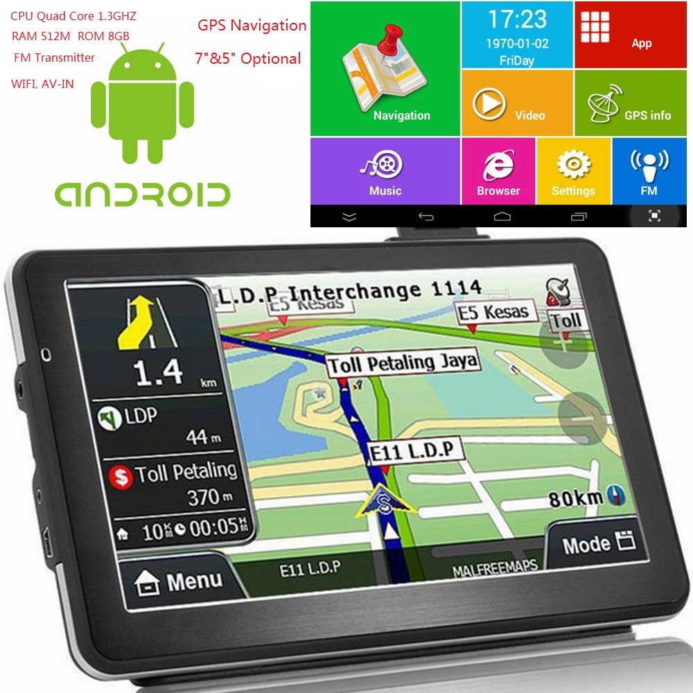 KMDRIVE Car GPS Navigation Transmitter-Bundle Free-Maps Bluetooth WIFI Android 7--Inch