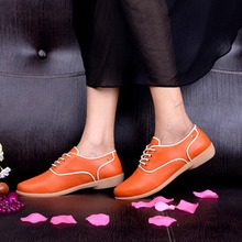 Spring Autumn Lace Up Soft Leather Casual Women Shoes Working Flat British Style Oxfords Flats Ladies Driving Zapatos