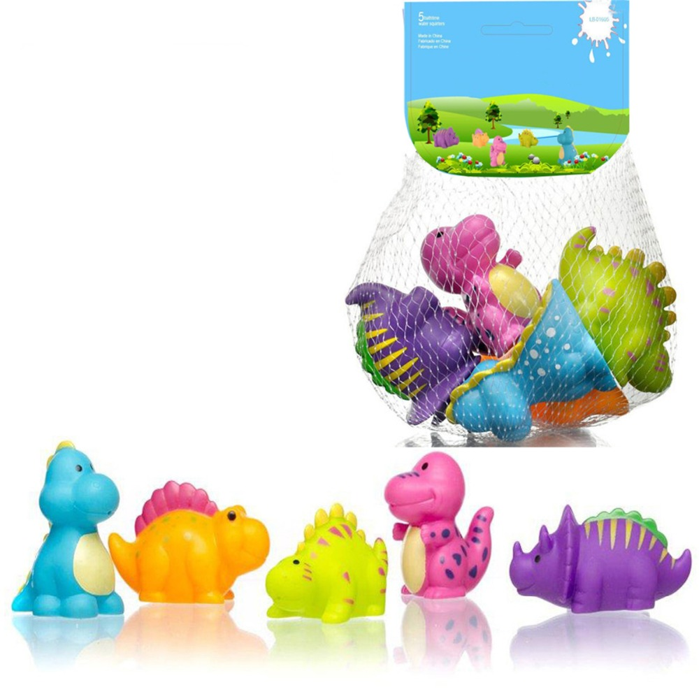 Bath Toy Baby dinosaur Toys Tub Pool Swimming Water Colorful Soft Floating Cute Bathing Spraying Children Interesting kid Shower