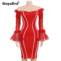 GuyuEra 2019 New African Cloths Products Real Hair Trumpet Sleeves Stitching Tight Dress