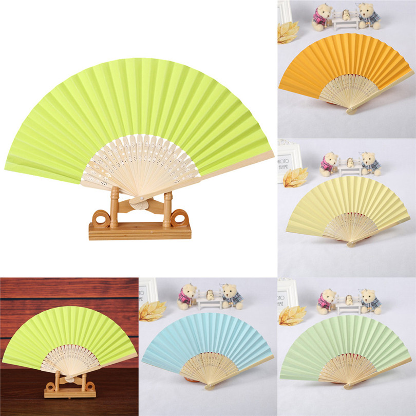 Hand Held Folding Paper Fan Pattern Folding Dance Wedding Party Folding Hand Held Solid Color Fan Groups Gifts Decor #4JY3
