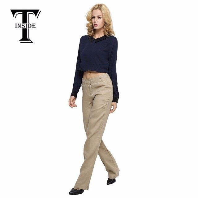 T Inside 2016 Summer High Quality Women Linen Pants Ankle Length
