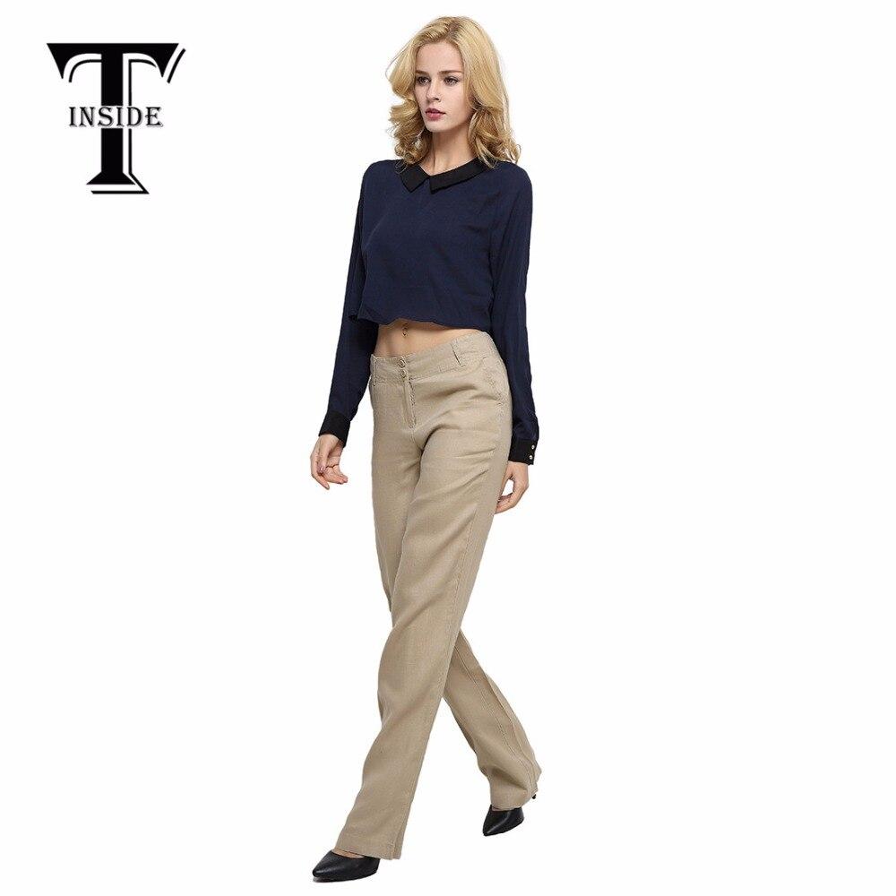 T Inside 2016 Summer High Quality Women Linen Pants Ankle Length Khaki Trouser Work Office Ladies Pant Femme business Pants