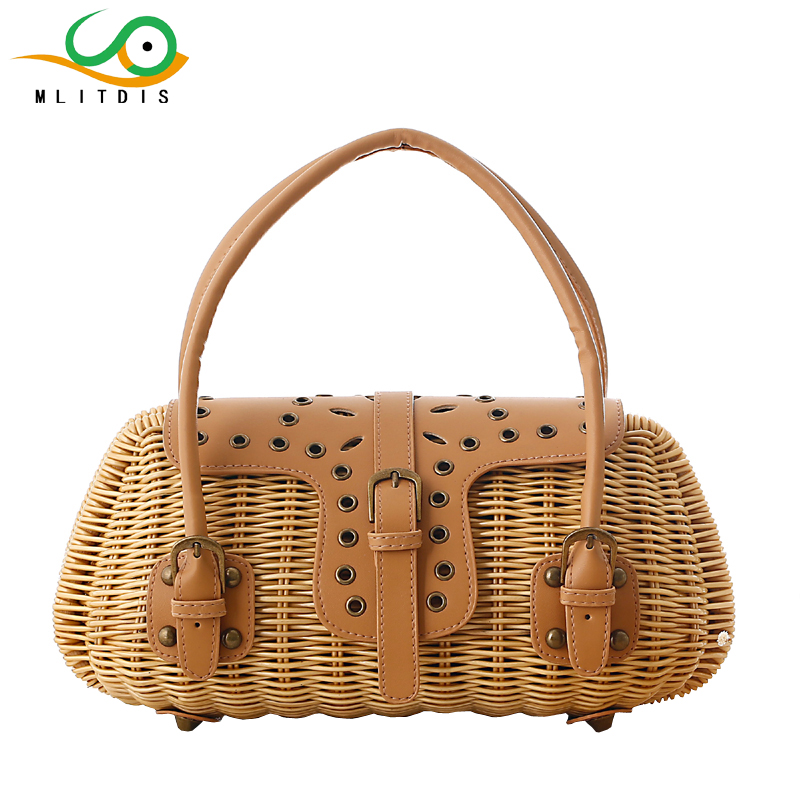 MLITDIS Women Bag Summer Beach Handbags Tote Bags For Women Designer Brands 2017 Kabelky Woman Travel Handbag Vintage Box Bags handmade flower appliques straw woven bulk bags trendy summer styles beach travel tote bags women beatiful handbags