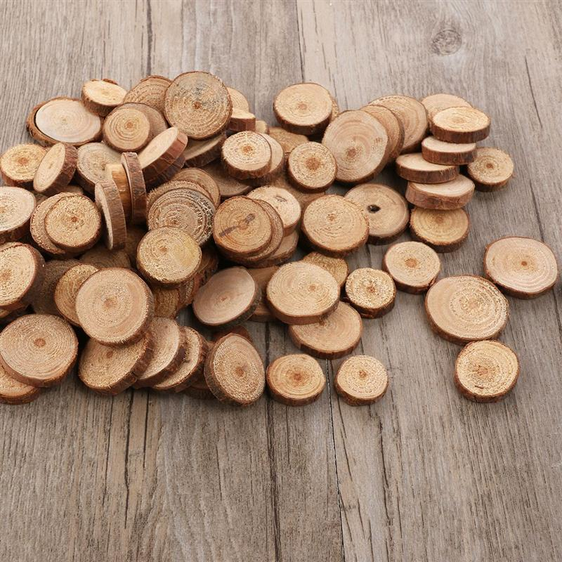 100pcs 10-30mm Wood Log Slices Discs Round DIY Crafts Wood Piece Photo Prop Handmade Decor For Wedding Festival Party A3