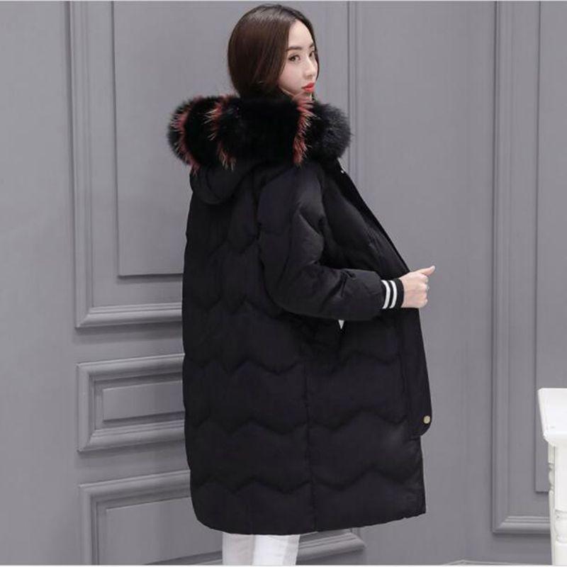2018 Women Winter Jacket 90% White Duck   Down     Coat   Parka Fur Collar Thicken Hooded   Down   Jacket Female Medium Long Overcoat