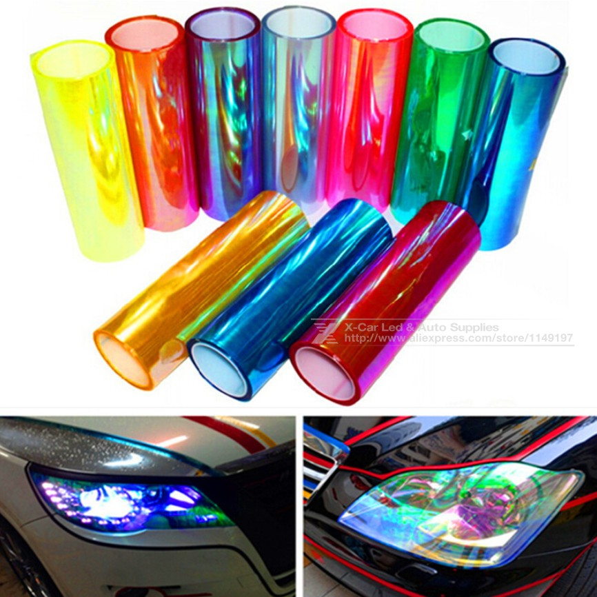 30cm*1m Shiny Chameleon Auto Car Styling Headlights Taillights Translucent film lights Turned Change Color Car Sticks Decoration