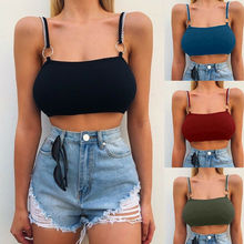 Women Sexy Casual Tank Top Solid Straps Camis Ladies Sleeveless Summer Crop Top Shirt Cami Top