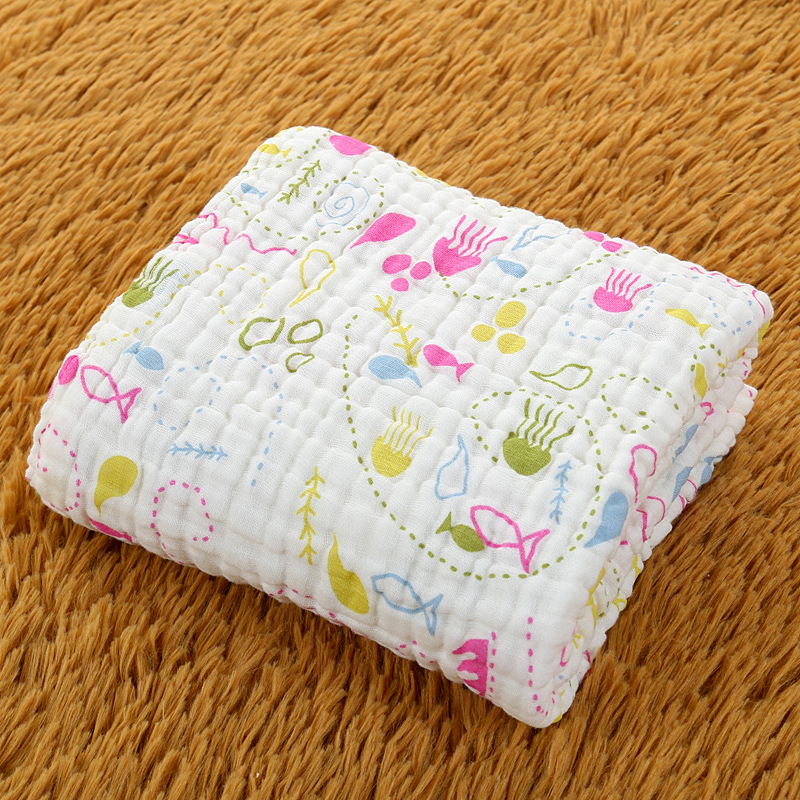 6 Layer Baby Muslin Blankets Swaddling 100% Cotton Swaddle Wrap for Newborn Babies Character Floral Printed Cottn Blanket Baby