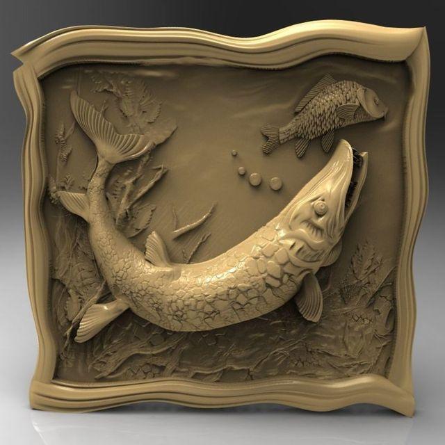 Pike fish 3d model stl relief for cnc stl format decoration artcam