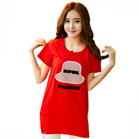 Cute Printed Lady Summer Long T Shirt Big SIZE M 4XL One Pieces Clothing Dress Women