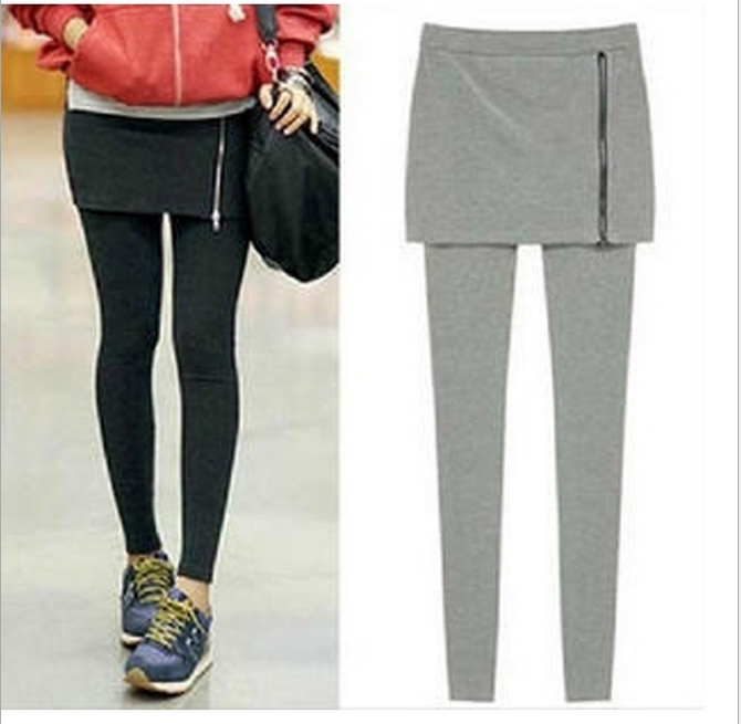 New Women Skirt Leggings Fashion Stretch false 2 pieces leggings Pencil Pants Casual Wear Women zipper leggins G0530