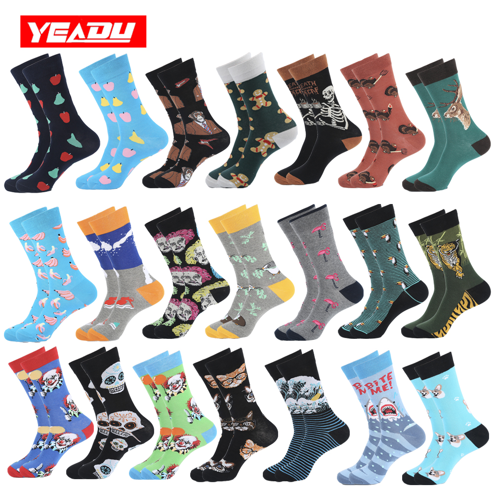 YEADU Cotton Men's Socks Harajuku Hip Hop Happy Funny Cool Cartoon Popsoket Skull Tager Banana Cat Socks For Men Christmas Gift