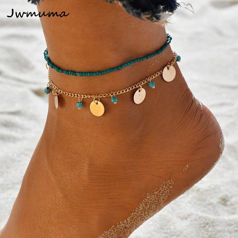 2019 New Bohemian Blue Green Beaded Combination Women's Necklace Double Metal Disc Bracelet On The Leg Foot Jewelry For Women
