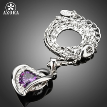 AZORA Forever Love Three Heart Superposition Romantic Purple Cubic Zirconia Pendant Necklaces for Valentine's Day