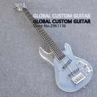جديد أكريليك 5 string bass guitar أبيض شفاف pickguard ، الاكريليك الجسم و الأصابع مع الصمام الخفيفة ، شحن مجاني