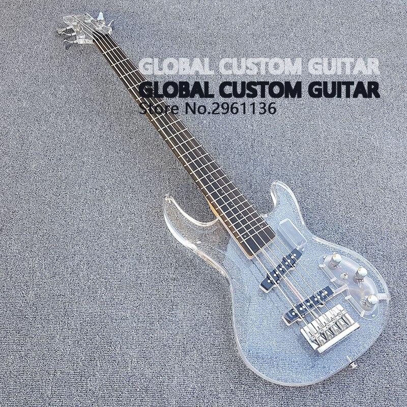 New Acrilico 5 String bass guitar Bianco Trasparente Pickguard, acrilico Del Corpo e Tastiera con la Luce del LED, spedizione gratuita