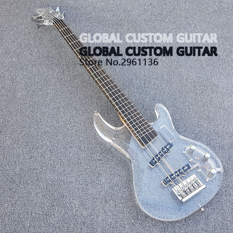 new acrylic 5 string bass guitar white transparent pickguard acrylic body fingerboard with. Black Bedroom Furniture Sets. Home Design Ideas