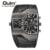 Oulm Marca De Quartzo-Relógio Masculino Quadrado Dial Múltipla Zona 2 Tempo relógios de Pulso Militar Dos Homens Relógios De Grife de Relógios de Luxo