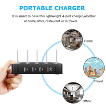 QC3.0 Desktop USB Charger Multi 4 Port Charging Stand 5V/2.4A Universal USB Phone Charging Station For Mobile Phone Tablet