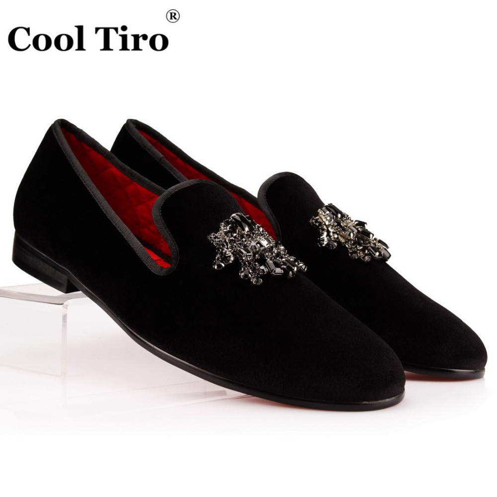 COOL TIRO Men Loafers Velvet Slipper Black Crystals Tassel Men s Dress Shoes Smoking Slip on