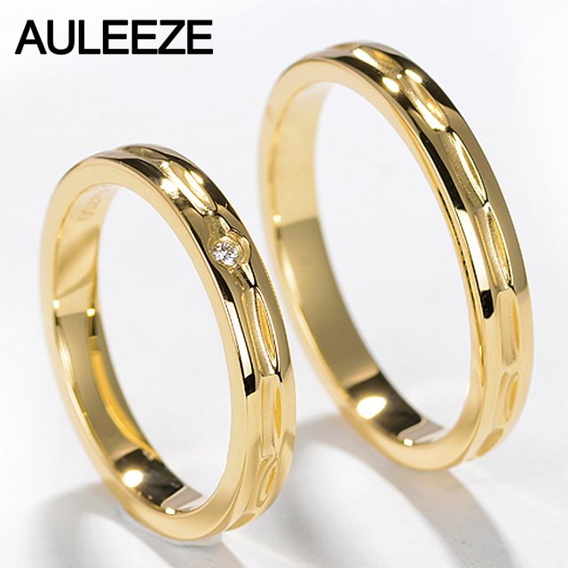 7fc61b89e6 AULEEZE Unique Design Lovers 18K Yellow Gold Couple Ring Real Natural  Diamond Wedding Bands For Men and Women Jewelry