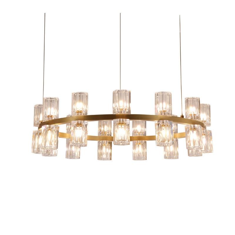 24 30 lustres en cristal modernes de tête lampe à LED éclairage à la maison léger de Suspension en métal d'or pour des lumières d'art de chambre à coucher de salon H104