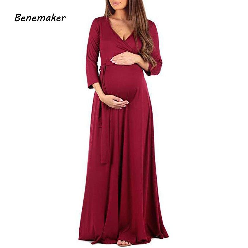 Benemaker 2018 Autumn Maternity Long Dresses Women's Pregnancy Dress V-Neck Long Sleeve Clothes For Pregnant Women Nursing YC001