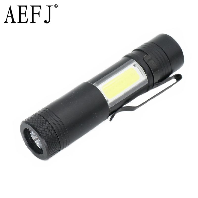 Mini Portable Aluminum LED Flashlight R5+COB Work Light Lanterna Powerful Pen Torches Lamp 4 Modes Use 14500 Or AA