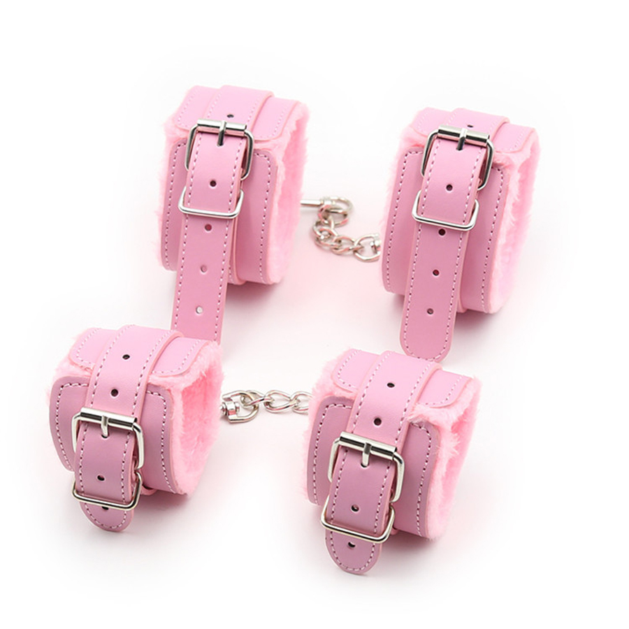 Pink Fur Lined Wrist Cuffs Ankle Cuffs,BDSM Bondage Restraints,Leather Handcuffs Anklecuffs,Sex Toys For Couple