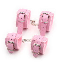 Pink Fur Lined Wrist Cuffs Ankle Cuffs,BDSM Bondage Restraints,Leather Handcuffs