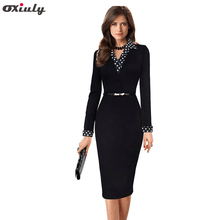 Oxiuly Spring 2016 New Long Sleeved Dot Notched Neck Patchwork Women Dress Women Formal Dresses Black Pencil Dress with Belt