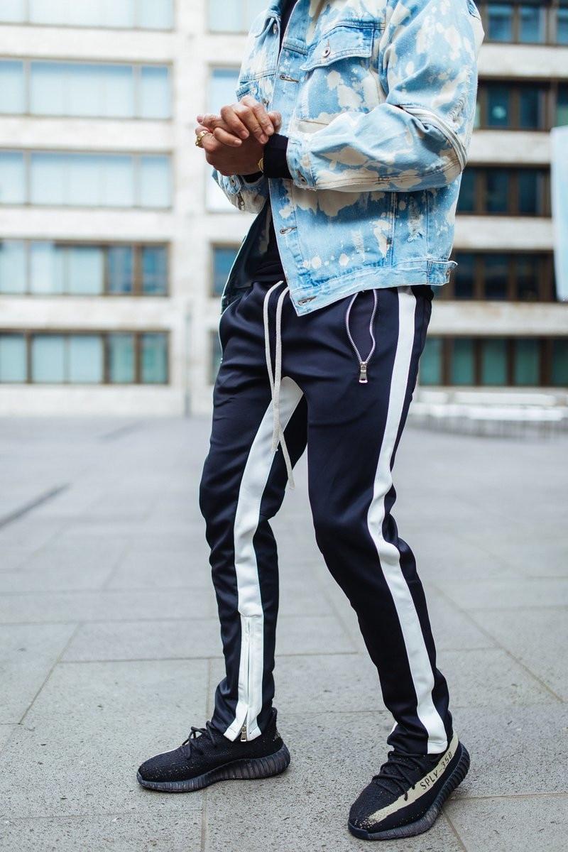 Mens Side Stripe Track Pants Hip-Hop Ankle Zipper Trouser  Male Elastic Waist  Banding Panelled Bottom Zipper Sweatpants