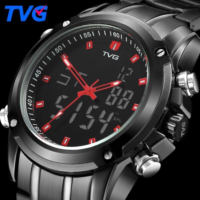 4b4f1543aa2 TVG Marca Moda Esporte Relógios dos homens Relógio Militar Dos Homens LEVOU  À Prova D