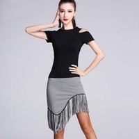 New Fashion Modal Cutout Short Sleeve Tassel Skirt Sexy Latin Dance 2pcs Set For Women Female