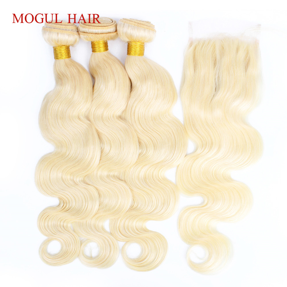 MOGUL HAIR Color 613 Blonde Bundles With Closure Brazilian Body Wave Hair 2/3 Bundles With Closure Remy Human Hair Extension