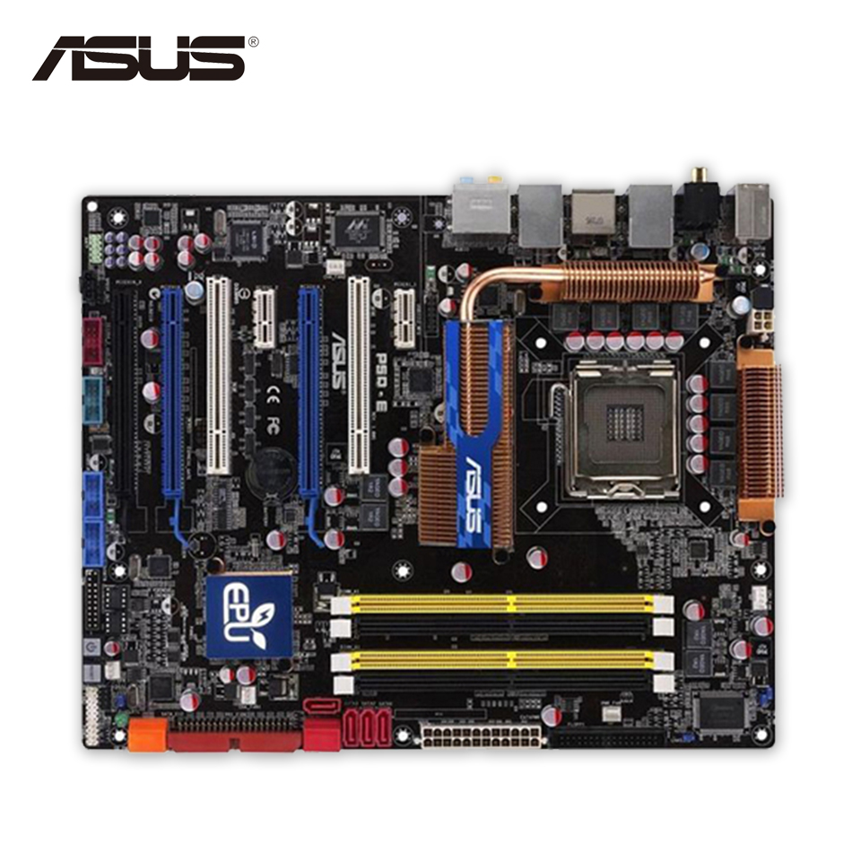 Asus P5Q-E Desktop Motherboard P45 Socket LGA 775 DDR2 16G SATA2 USB2.0 ATX asus p5q e desktop motherboard p45 socket lga 775 for core 2 duo quad ddr2 16g uefi atx bios original used mainboard on sale