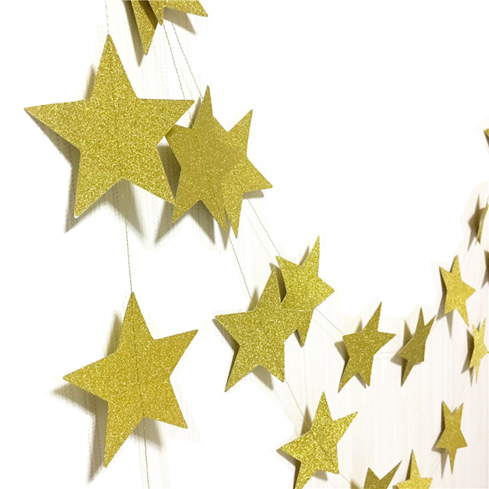 Gold Glitter Star Garland Paper Banner New Year Xm...