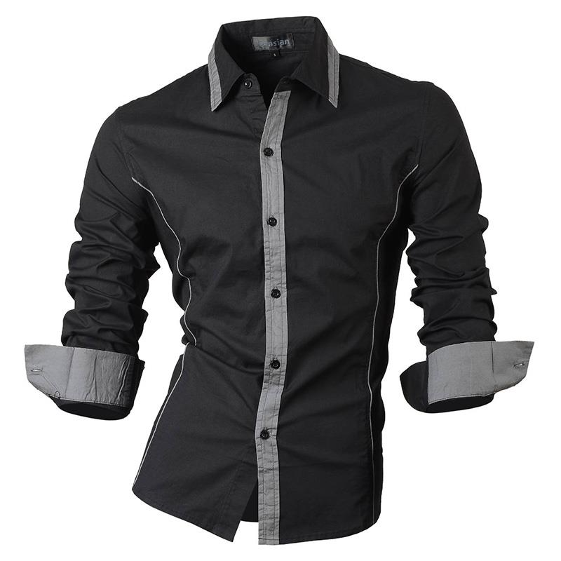 Jeansian Men's Fashion Dress Casual Shirts Button Down Long Sleeve Slim Fit Designer 8015 Black