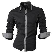 Jeansian Mens Fashion Dress Casual Shirts Button Down Long Sleeve Slim Fit Designer 8015 Black